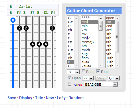 Chord Generator for 7 Strings | OSIRIS GUITAR