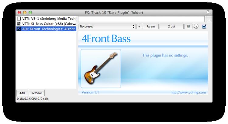 FX window with bass plugin